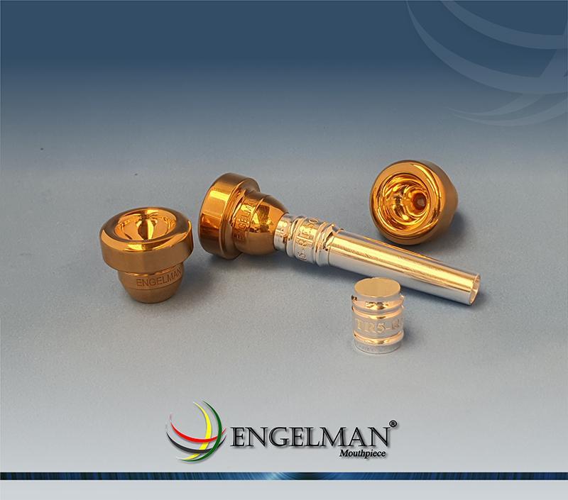 Bocal de rosca com taça com acabamento em ouro e ressonador com acabamento em prata - Customizado