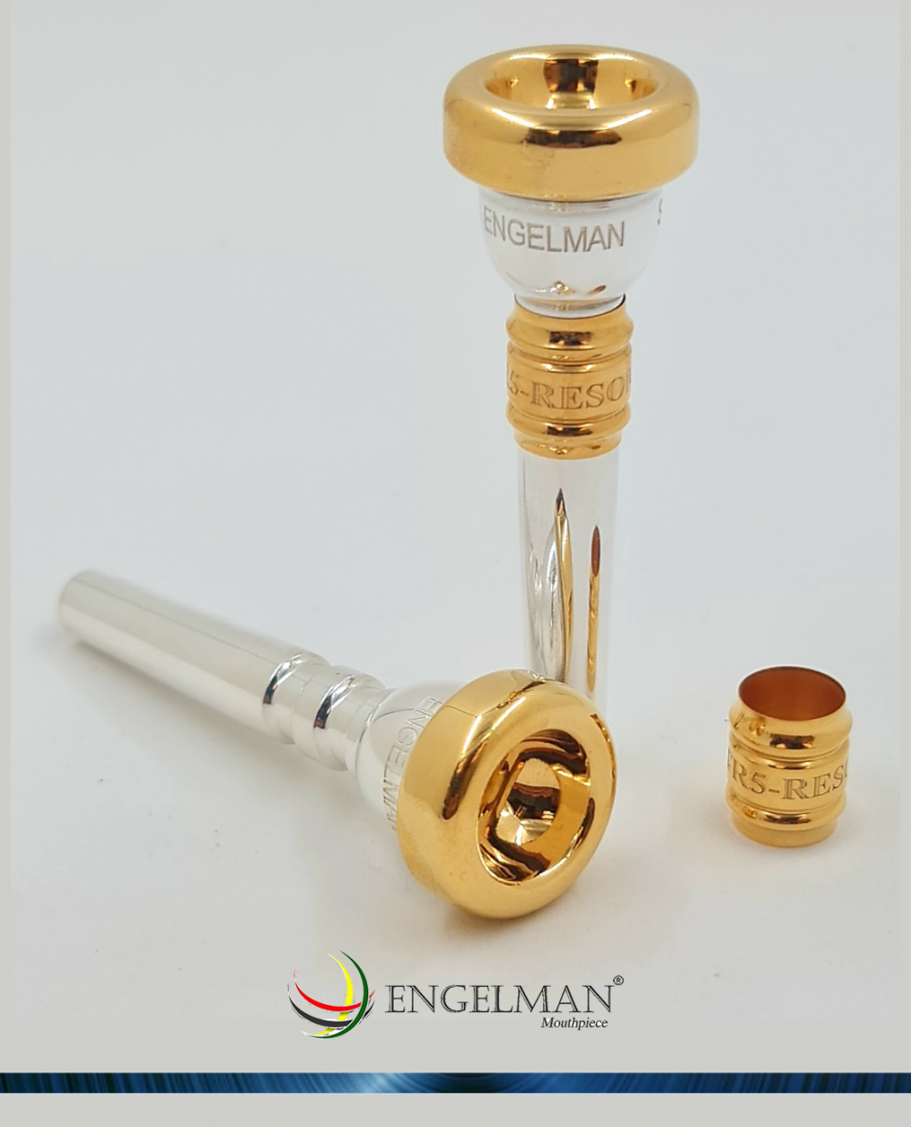 Bocal inteiriço em prata com borda e taça em ouro e com ressonador em ouro - Standard